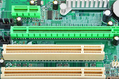 Placa madre verde del ordenador Fotos de archivo libres de regalías