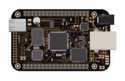 Placa mega eletrônica de DIY com um microcontrolador, o diodo emissor de luz, os conectores, e outros componentes eletrônicos Fotografia de Stock Royalty Free