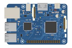 Placa mega eletrônica de DIY com um microprocessador, relações, diodo emissor de luz, conectores, e outros componentes eletrônico Imagem de Stock Royalty Free