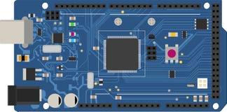 Placa mega eletrônica de DIY com um microprocessador, relações, diodo emissor de luz, conectores, e outros componentes eletrônico Fotos de Stock Royalty Free