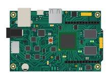 Placa mega eletrônica de DIY com um microprocessador, relações, diodo emissor de luz, conectores, e outros componentes eletrônico Fotografia de Stock Royalty Free