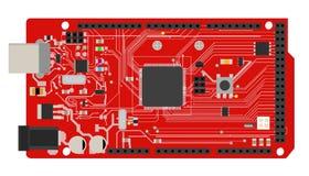 Placa mega eletrônica de DIY com um microprocessador, relações, diodo emissor de luz, conectores, e outros componentes eletrônico Fotografia de Stock