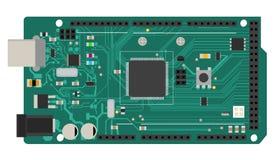 Placa mega eletrônica de DIY com um microprocessador, relações, diodo emissor de luz, conectores, e outros componentes eletrônico Imagens de Stock