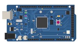 Placa mega eletrônica de DIY com um microcontrolador ilustração royalty free