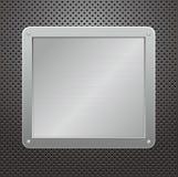 Placa metálica brillante en un fondo textured Fotos de archivo libres de regalías