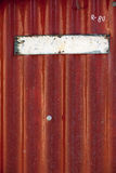 Placa metálica pintada velha vazia Imagens de Stock