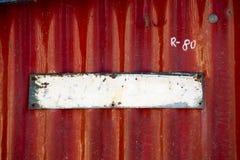 Placa metálica pintada vieja vacía Fotos de archivo