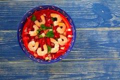 Placa mexicana do camarão de Ceviche de Camaron no azul Imagens de Stock Royalty Free