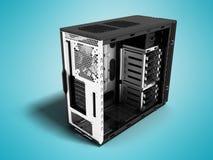 Placa moderna do bloco de sistema para a rendição da perspectiva 3d do conjunto do computador no fundo azul com sombra ilustração royalty free