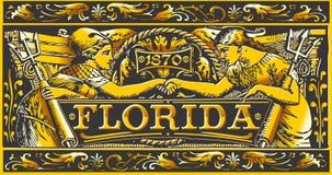 Placa, negro y oro de la etiqueta de la Florida del vintage Fotos de archivo