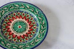 Placa no estilo do uzbek Placa colorida vazia fotos de stock royalty free