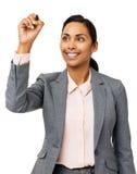 Placa nova de Writing On Transparent da mulher de negócios imagens de stock royalty free