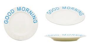 Placa o plato vacía con BUENA MAÑANA de la palabra Aislado en blanco Fotografía de archivo libre de regalías
