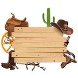 Placa ocidental do vetor com vaqueiro Accessories ilustração royalty free