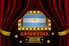 Placa para o desempenho, cinema do tempo da mostra, entretenimento, roleta, pôquer do evento do país de Argentina Vintage de bril ilustração stock