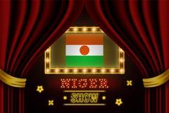 Placa para o desempenho, cinema do tempo da mostra, entretenimento, roleta, p?quer do evento do pa?s de Niger Vintage de brilho d ilustração stock