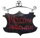 A placa preta da ilustração da aquarela com vermelho pintou o sinal O Dia das Bruxas bem-vindo ilustração do vetor
