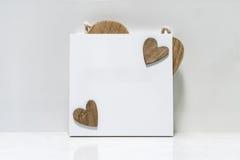 Placa quadrada de madeira branca Imagens de Stock Royalty Free