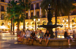 Placa Reial στη θερινή νύχτα Βαρκελώνη Στοκ φωτογραφίες με δικαίωμα ελεύθερης χρήσης