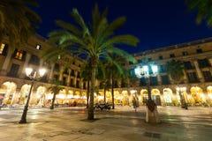 Placa Reial το βράδυ Βαρκελώνη Στοκ Φωτογραφία