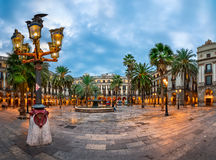 Placa Reial το πρωί, Βαρκελώνη, Καταλωνία, Ισπανία Στοκ Εικόνες