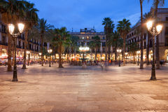 Placa Reial in Barcelona at Night Royalty Free Stock Photos