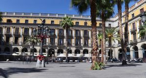 The Placa Reial in Barcelona stock photography
