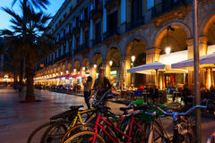 Placa Reial in  evening time. Barcelona, Catalonia Stock Images