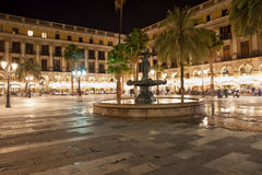 Placa Reial at Night in Barcelona Royalty Free Stock Photos