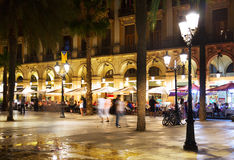 Placa Reial in  night. Barcelona Royalty Free Stock Photo