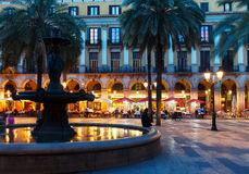 Placa Reial in  night. Barcelona Stock Image