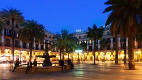 Placa Reial in winter evening. Barcelona Stock Image