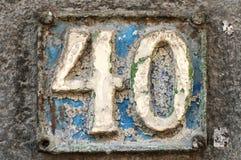 Placa retra vieja número 40 del arrabio  Foto de archivo