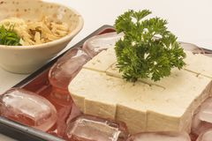 Placa roja con el queso de soja en el hielo y el jengibre foto de archivo libre de regalías