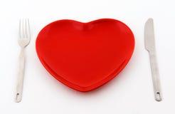 Placa roja del corazón Fotos de archivo libres de regalías