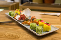 Placa sabrosa del sushi Foto de archivo