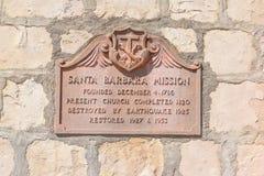Placa Santa Barbara Mission Imagen de archivo