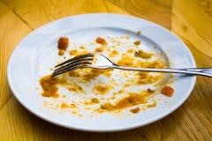 Placa sucia con una bifurcación en restaurante Foto de archivo libre de regalías