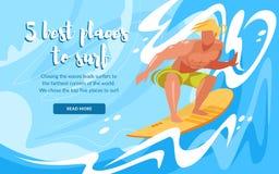 Placa surfando de montada do homem por ondas de oceano sportsman ilustração stock
