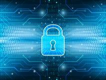 A placa tecnologico e o fechamento no serviço de segurança global abstraem o fundo Foto de Stock