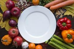 Placa vacía blanca con la opinión superior de las diversas verduras Imagen de archivo