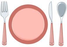 placa vacía con la fork y cuchara y cuchillo Foto de archivo libre de regalías