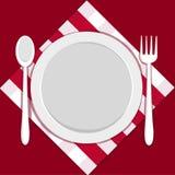 Placa vacía con la fork y la cuchara Imagen de archivo