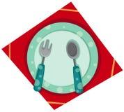 Placa vacía con la fork y la cuchara Imagen de archivo libre de regalías