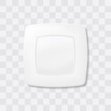 Placa vacía de la casilla blanca Vector realista del plato de la visión superior Fotos de archivo