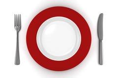 Placa vazia com faca e forquilha isolada Imagem de Stock