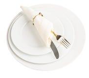 Placa vazia, forquilha, faca, guardanapo IX imagens de stock royalty free