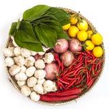 Placa vegetal aislada con la berenjena, la cebolla, el ajo, la pimienta y hojas verdes Fotos de archivo libres de regalías