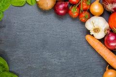 Placa vegetal Estancia sana - coma orgánico Fotos de archivo