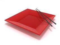 Placa vermelha do sushi Imagem de Stock